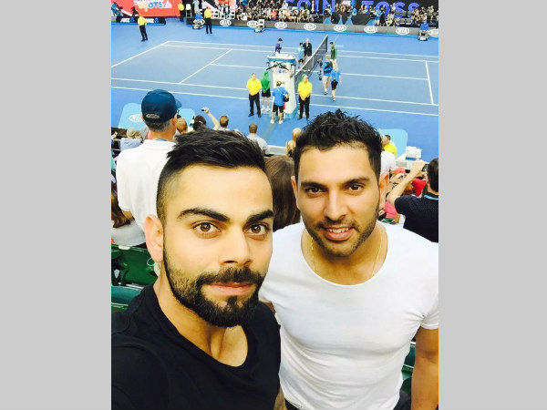 This picture was tweeted by Virat Kohli (left) from the stadium. Yuvraj Singh is to his left