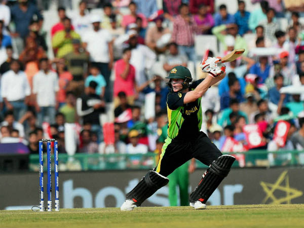 Australia captain Steve Smith plays a shot on way to his half century against Pakistan