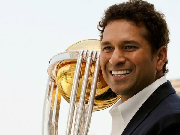 Sachin Tendulkar with the 2011 World Cup trophy