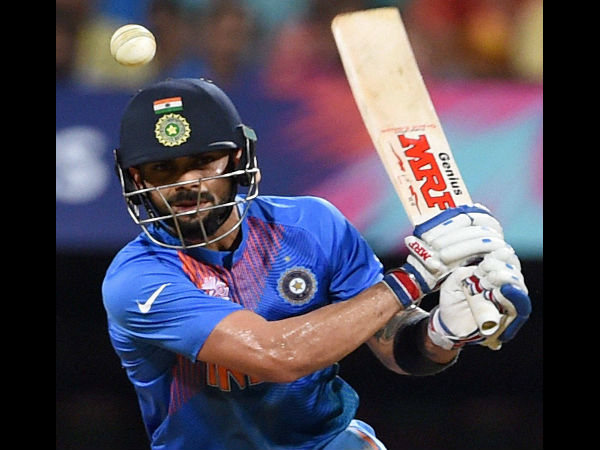 Virat Kohli plays a shot during the World T20 semi-final against West Indies