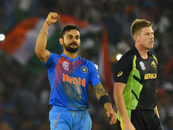 Virat Kohli (left) celebrates after guiding India to victory over Australia in World T20 recently. Also seen is James Faulkner