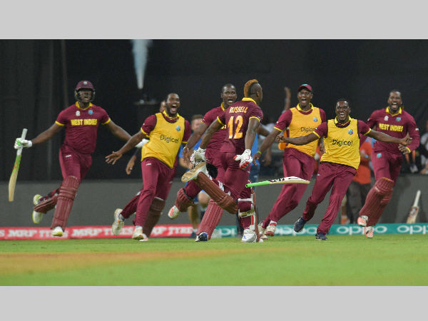 West Indies players celebrate their WT20 semi-final win over India in Mumbai