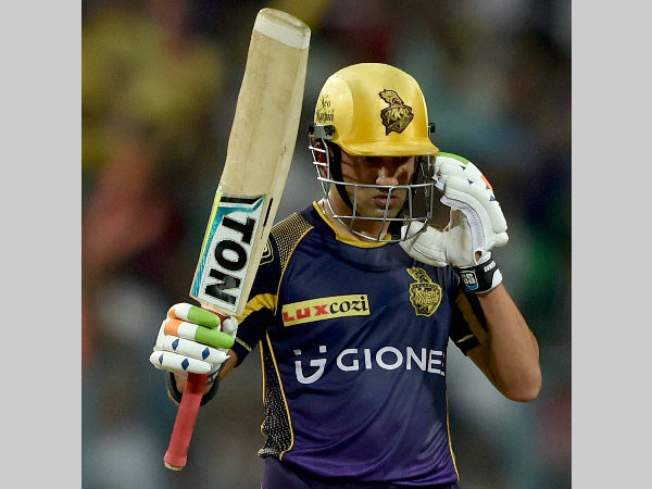 KKR captain Gautam Gambhir reacts after scoring a half century against KXIP
