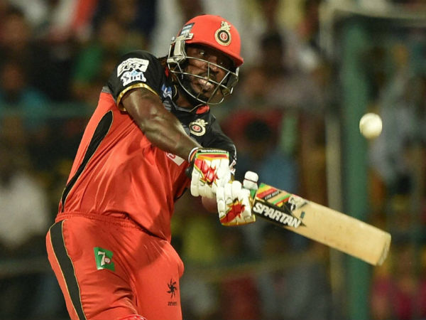 Chris Gayle hits a big shot in the final