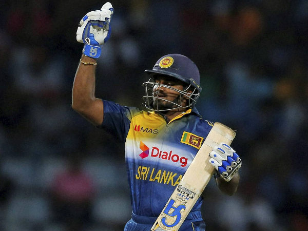 Perera celebrates his ODI half century against West Indies in this November, 2015 file photo in Pallekele