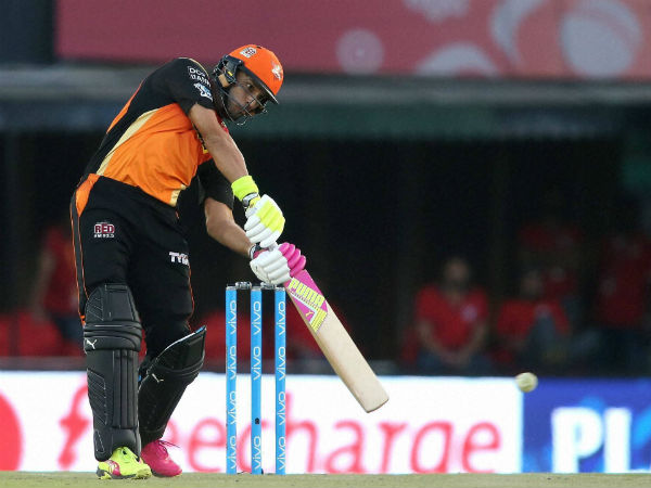 Hyderabad's Yuvraj Singh plays a shot against Punjab on Sunday (May 14)