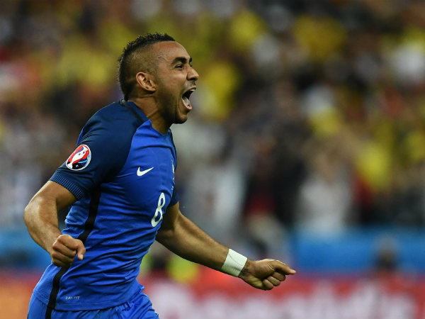 Dimitri Payet celebrates after scoring a goal. Photo from UEFA Euro 2016's official Twitter page