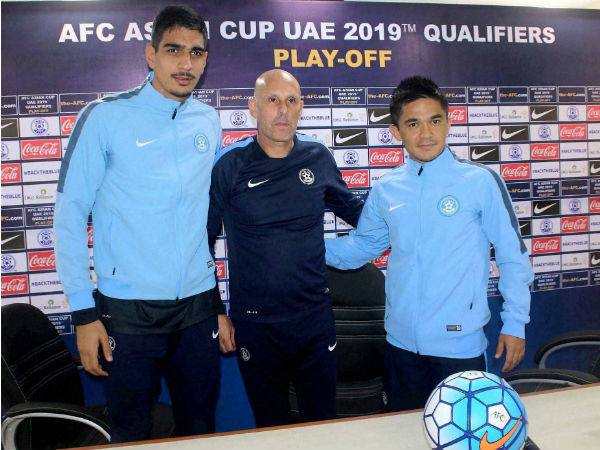 Indian Football team players Sunil Chhetri and Gurpreet Singh Sandhu with coach Stephen Constantine at a press conference regarding AFC Asia Cup in Guwahati