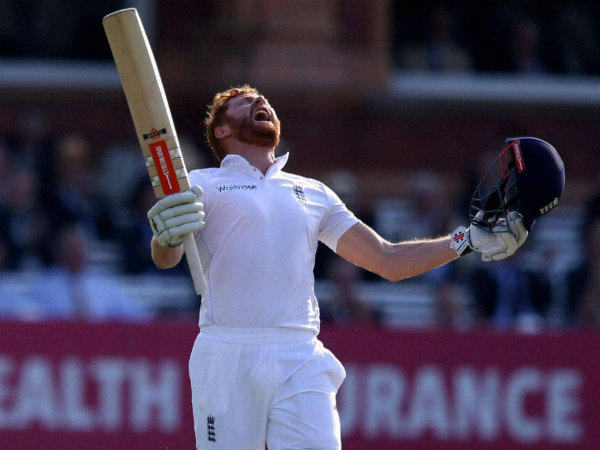 Jonny Bairstow celebrates reaching his century against Sri Lanka at Lord's