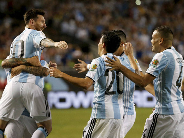 Argentina's Lionel Messi (10) celebrates with his teammates after scoring a goal against Panama during a Copa America Centenario group D soccer match on June 10, 2016, in Chicago.