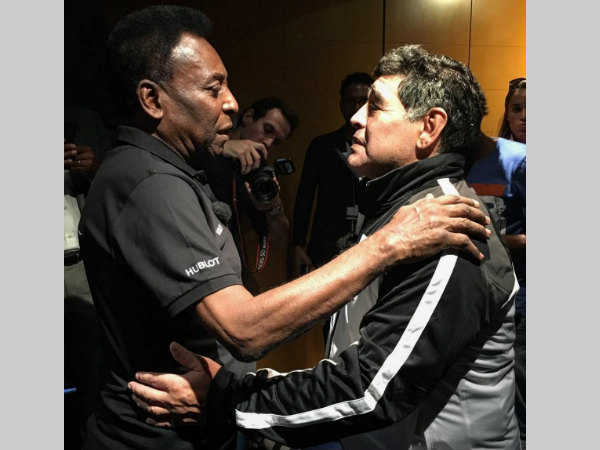 Pele (left) and Maradona before the friendly match. Photo from Pele's Twitter page