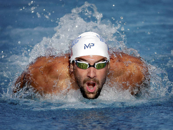 Michael Phelps competes in the 200-meter butterfly final at the Arena Pro Swim Series swim meet on April 15, 2016, in Mesa, Ariz.
