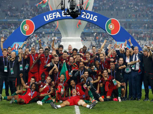 Portuguese players celebrate after winning Euro 2016. Photo from Euro's official Twitter page