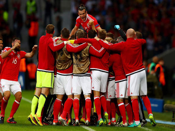 Wales players celebrate after beating Belgium in the Euro 2016 quarter final match (Image courtesy: Gareth Bale twitter handle)