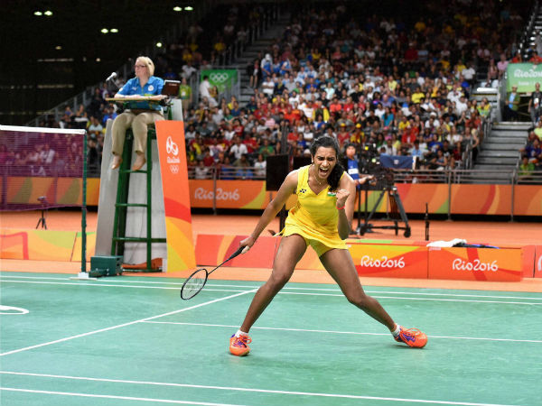 Sindhu jubilant after scoring a point