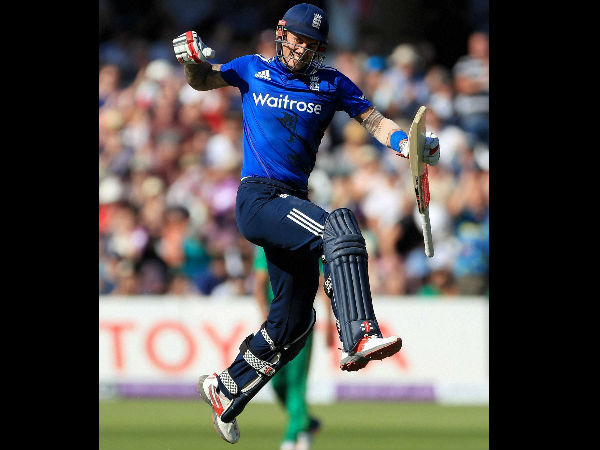 England's Alex Hales celebrates his century during the third one day international cricket match, at Trent Bridge, Nottingham.
