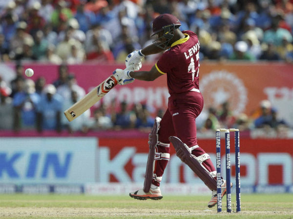 Evin Lewis plays a shot on way to his century
