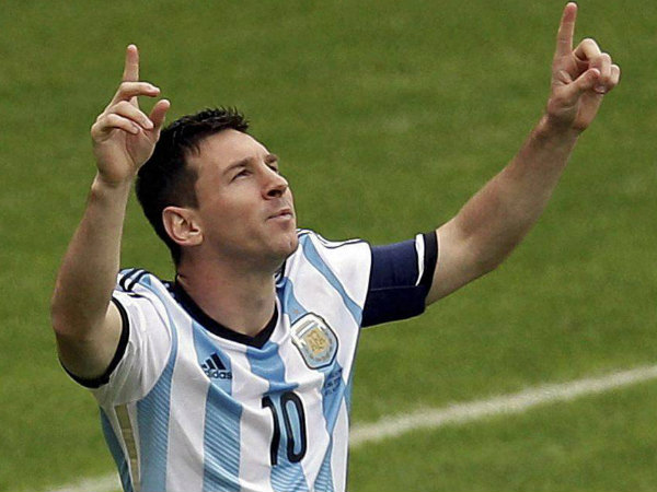 File Photo: Lionel Messi celebrates after scoring a goal for Argentina