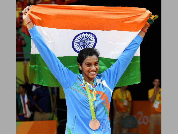 PV Sindhu celebrates after claiming a silver medal at Rio Olympics
