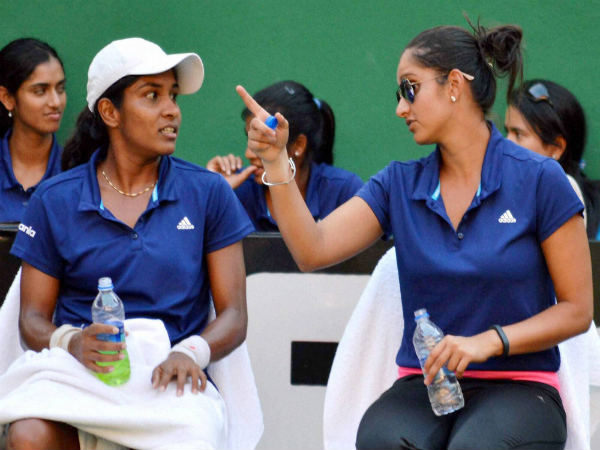Sania Mirza with Prarthana Thombare during the 4th day of the Fed Cup at LB stadium, Hyderabad