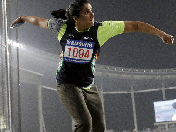Seema Punia's competes in women's discus throw final at the 17th Asian Games in Incheon