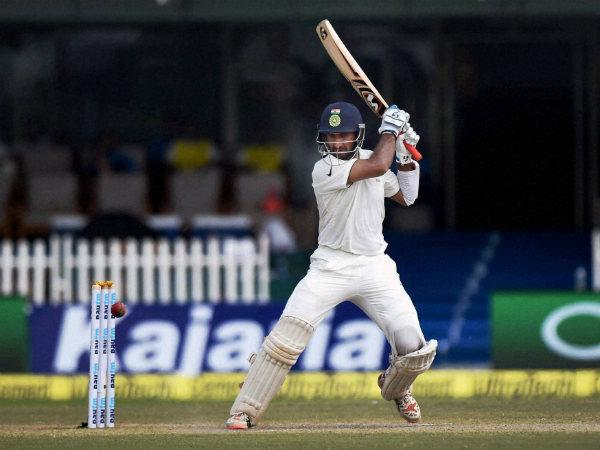 Cheteshwar Pujara in action against New Zealand in Kanpur Test
