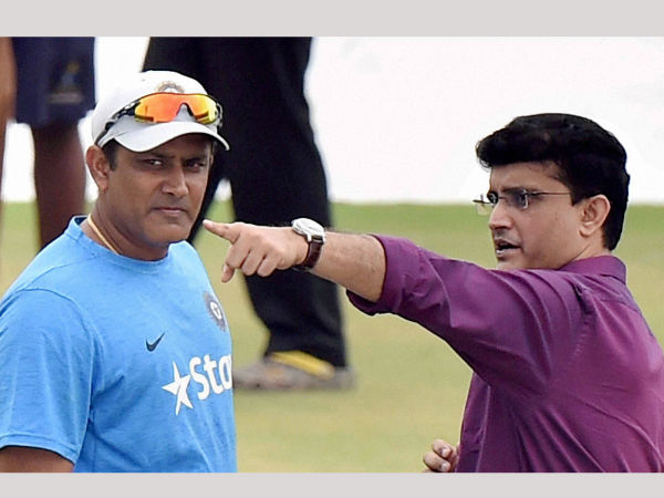 Former captain and CAB President Sourav Ganguly and Indian cricket team coach Anil Kumble during a practice session at Eden Garden in Kolkata.