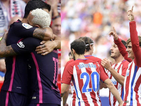 Barcelona players (left) and Atletico Madrid players celebrate (Image courtesy: Barcelona and Atletico Madrid Twitter handles)