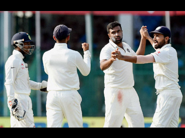 Ravichandran Ashwin with teammates celebrates the wicket of New Zealand skipper Kane Williamson on the fourth day of the first Test match at Green Park in Kanpur on Sunday.