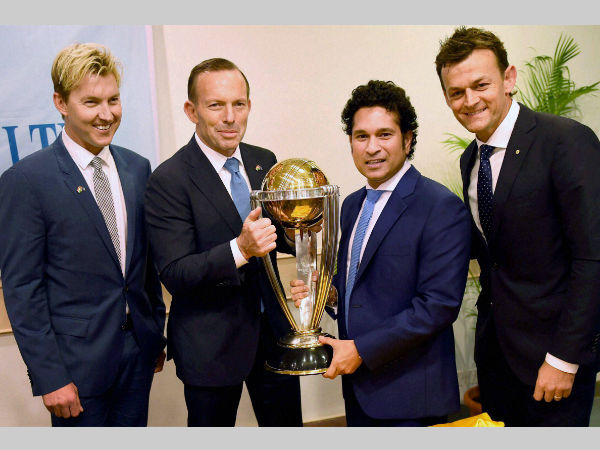 September 4, 2014 file photo: Australian Prime Minister Tony Abbott (2nd left) and Sachin Tendulkar flanked by Adam Gilchrist (extreme right) and Brett Lee, pose with the World Cup trophy during a sporting event organised by Australian Consulate at Cricket Club of India (CCI) in Mumbai.