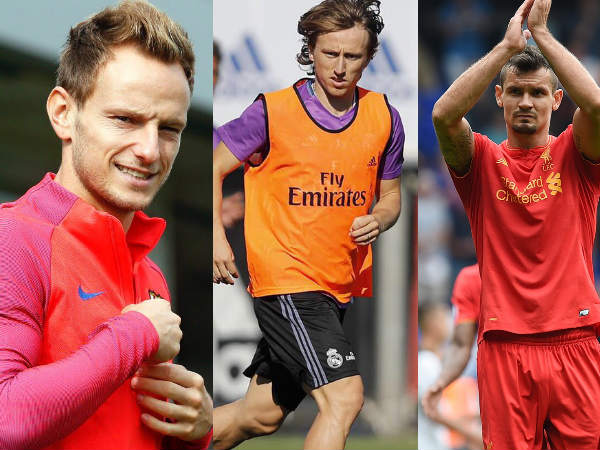 From left: Ivan Rakitic, Luka Modric and Dejan Lovren (Image courtesy: Ivan Rakitic, Luka Modric and Liverpool Twitter handles)