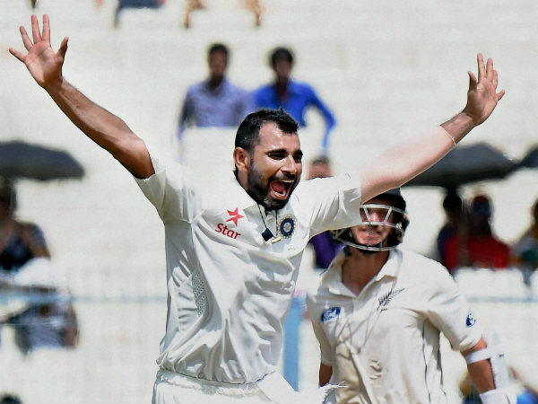 Mohammed Shami appeals for a wicket during the Kolkata Test