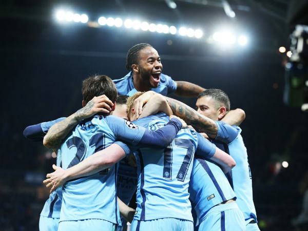 Manchester City players celebrate (Image courtesy: Manchester City Twitter handle)