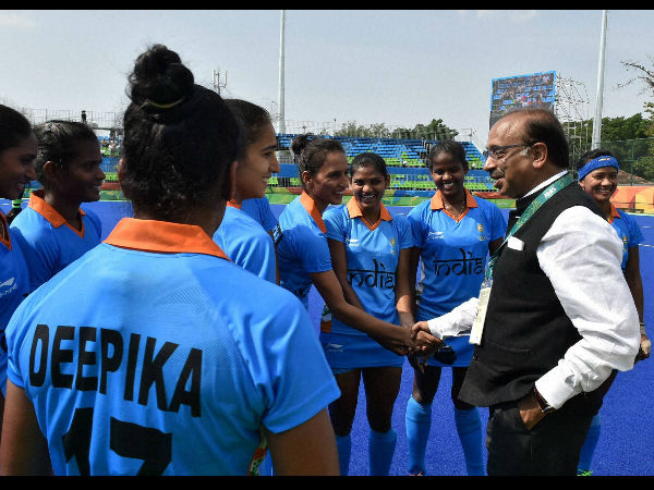 Union Sports Minister Vijay Goyal with Indian Women Hockey players during the Rio Olympic 2016 in Rio de Janeiro.