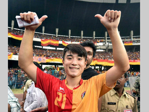East Bengal's Do Dong-hyun celebrates after scoring 2 goals against Mohun Bagan at a derby clash of Calcutta Football League Premier Division in Kolkata in September 2015