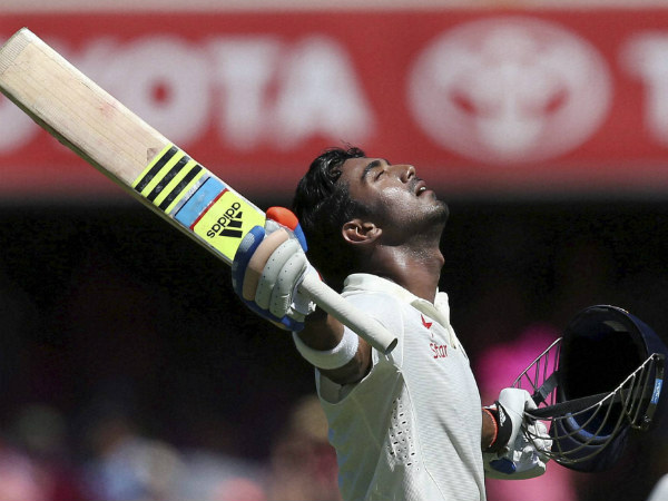 A file picture of KL Rahul celebrating a Test ton