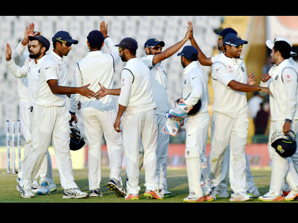 Indian players celebrate after winning a Test against England in Mohali recently