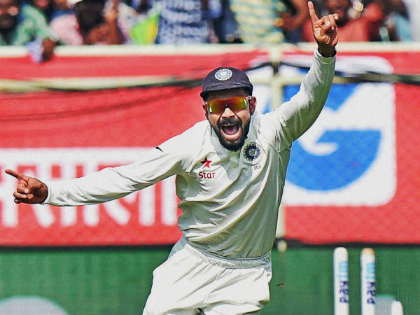 A file photo of Virat Kohli celebrating a England wicket during the ongoing Test series