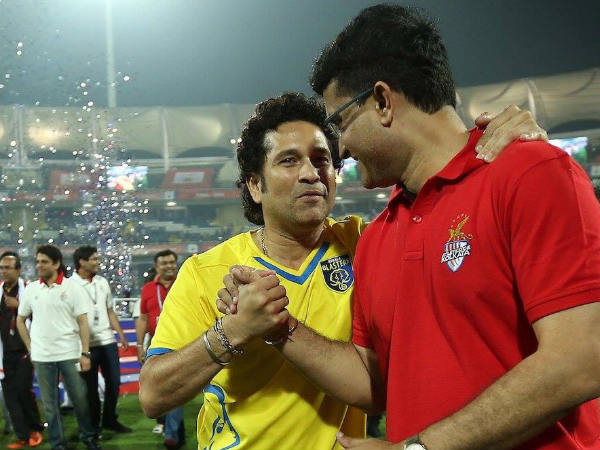 From left: Sachin Tendulkar and Sourav Ganguly (Image courtesy: ISL Twitter handle)