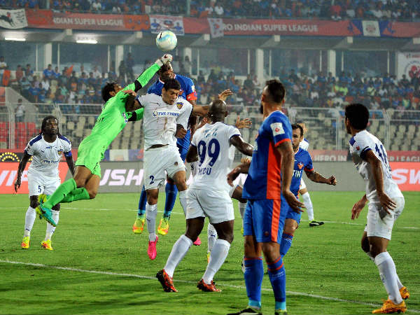 FC Goa and Chennaiyin FC players in action during an ISL match played at Nehru Stadium, Fatorda on Thursday.