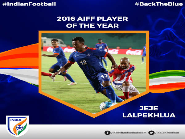 Jeje Lalpekhlua AIFF Player of the Year 2016 (Image courtesy: AIFF Twitter handle)