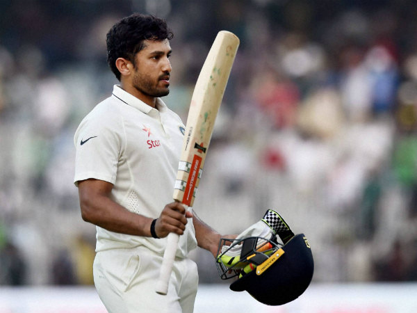 Karun Nair leaves the ground after scoring 303 not out against England in Chennai on Monday (December 19)