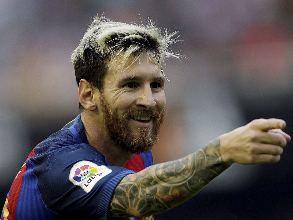 File photo: Lionel Messi celebrating a goal for Barcelona