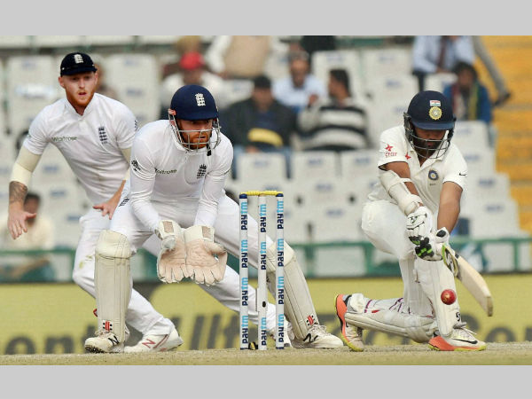 File photo: Parthiv Patel plays a shot against England. He was unbeaten on 29