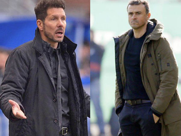 From left: Atletico Madrid manager Diego Simeone and Barcelona manager Luis Enrique