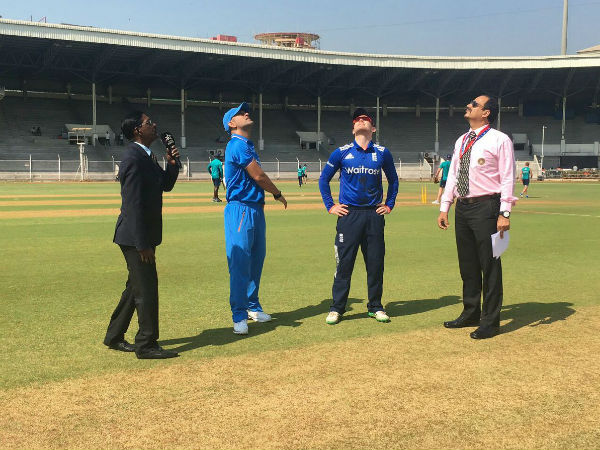 Dhoni (2nd left) at the toss in India A-England warm-up match in Mumbai
