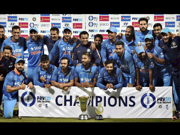 Indian players celebrate their 2-1 ODI series win over England