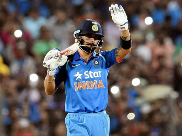 Virat Kohli gestures during this century knock in Pune