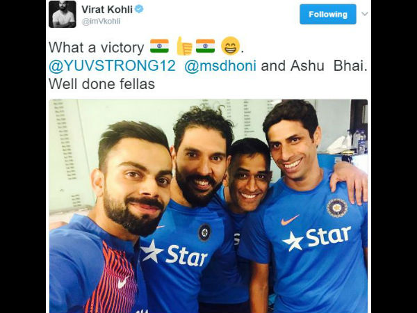 Virat Kohli shares adorable selfie with veterans Dhoni, Nehra and Yuvraj after T20I series win