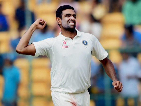 Ashwin celebrates after dismissing Peter Handscomb in the 2nd Test in Bengaluru on Tuesday (March 7)